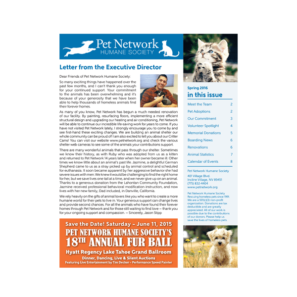 Spring 2016 Pet Network Newsletter